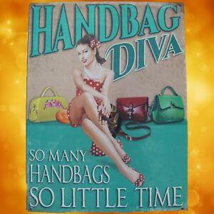 Wandschild-Eisen-Handbag-Diva-H-33x25cm-Vintage-Geschenk-Wand-Deko-Reklame