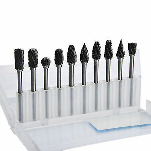 10pcs Tungsten Steel Solid Carbide Burrs Kit For Rotary Tool Drill Bit