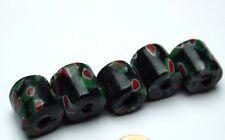 5 X grün rote Millefiori Perlen kurz