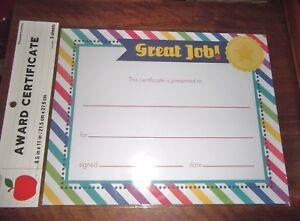 award certificates great job 6 sheets per pack ebay