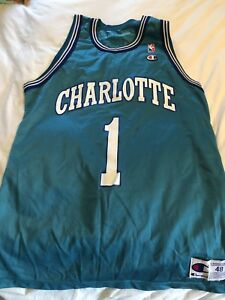 online store 963d8 e68f6 Details about Champion Muggsy Bogues Jersey, Teal, Vintage Size 48