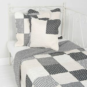 Clayre-amp-eef-Bedspread-Dots-Stars-Cream-Black-Patchwork-Cottage-Pillow-Case
