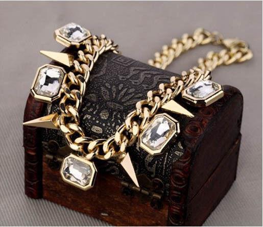 Collar Fashion Geometric Crystal Statement Chain Pendant Necklace Bib Choker