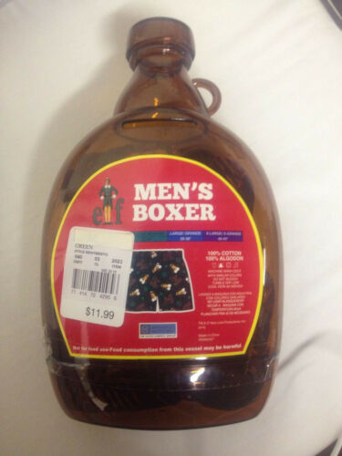 ELF Movie Maple Syrup Bottle W// Mens Boxers Sleep Shorts Coin Bank XMAS