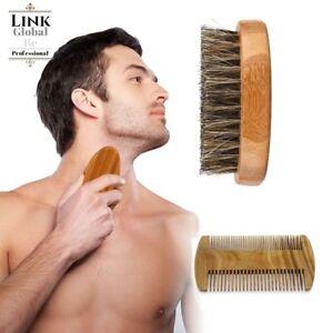 Gents-Mens-Boar-Bristle-Shaving-Moustache-Beard-Brush-Comb-Set-Kit-Wooden-Bamboo