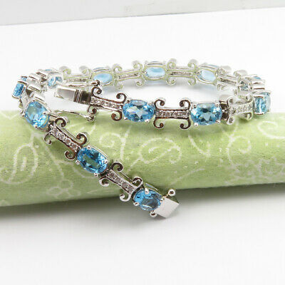 Engagement & Wedding Bridal & Wedding Party Jewelry Aaa Grade 925 Solid Silver Blue Topaz Cut Stone 11.8 Ct Bracelet Women's Jewelry Vivid And Great In Style