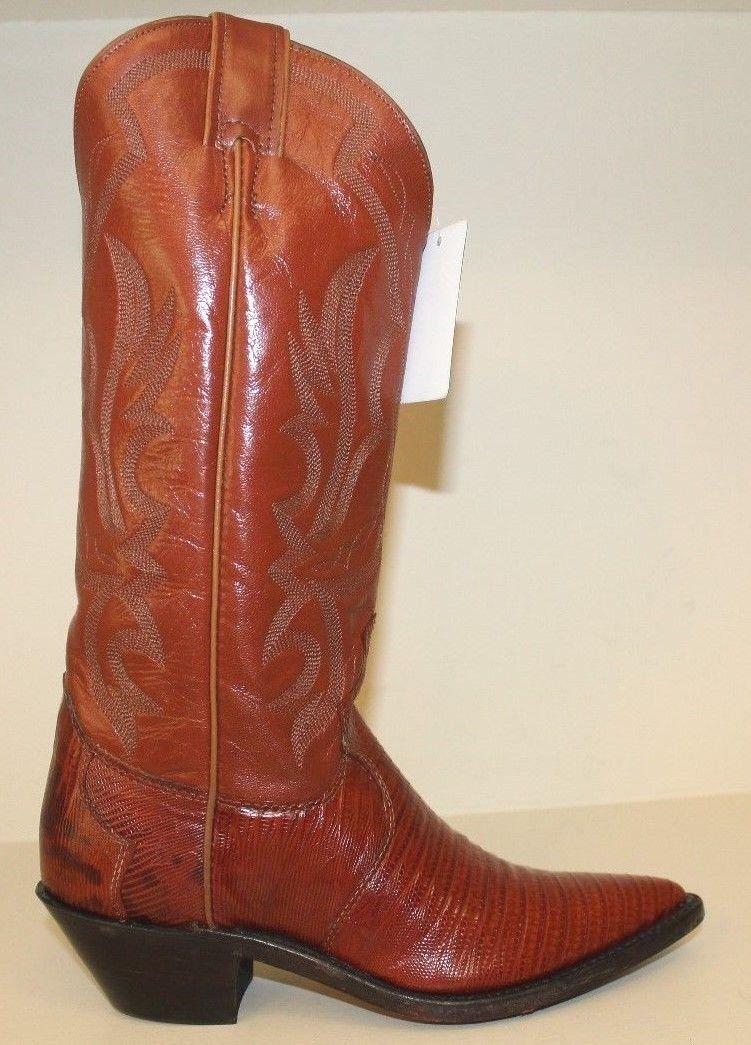 Justin Bottes bottes Sz 5 B Peanut Brittle Iguana Lizard Western Cowgirl