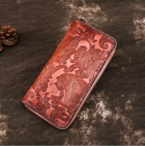 Women Retro Embossed Genuine Cow Leather Long Wallet Purse Handbag Clutch bag