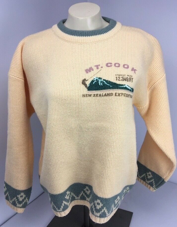 80s Vtg MT COOK NEW ZEALAND EXPEDITION Sweater Small nordic Yellow Tarazzia