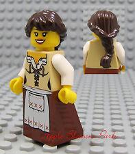 NEW Lego Pirates/Castle Brown Hair FEMALE MINIFIG Tan Dress/Skirt Princess Girl