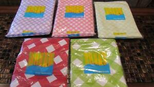 Vinyl-Tablecloth-Flannel-Back-Lattice-Diagonal-Stripe-5-Colors-Spring-Summer-NEW