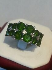 COLLEEN LOPEZ HSN 4.21 CTW CHROME DIOPSIDE & WHITE TOPAZ STERLING SILVER RING 9