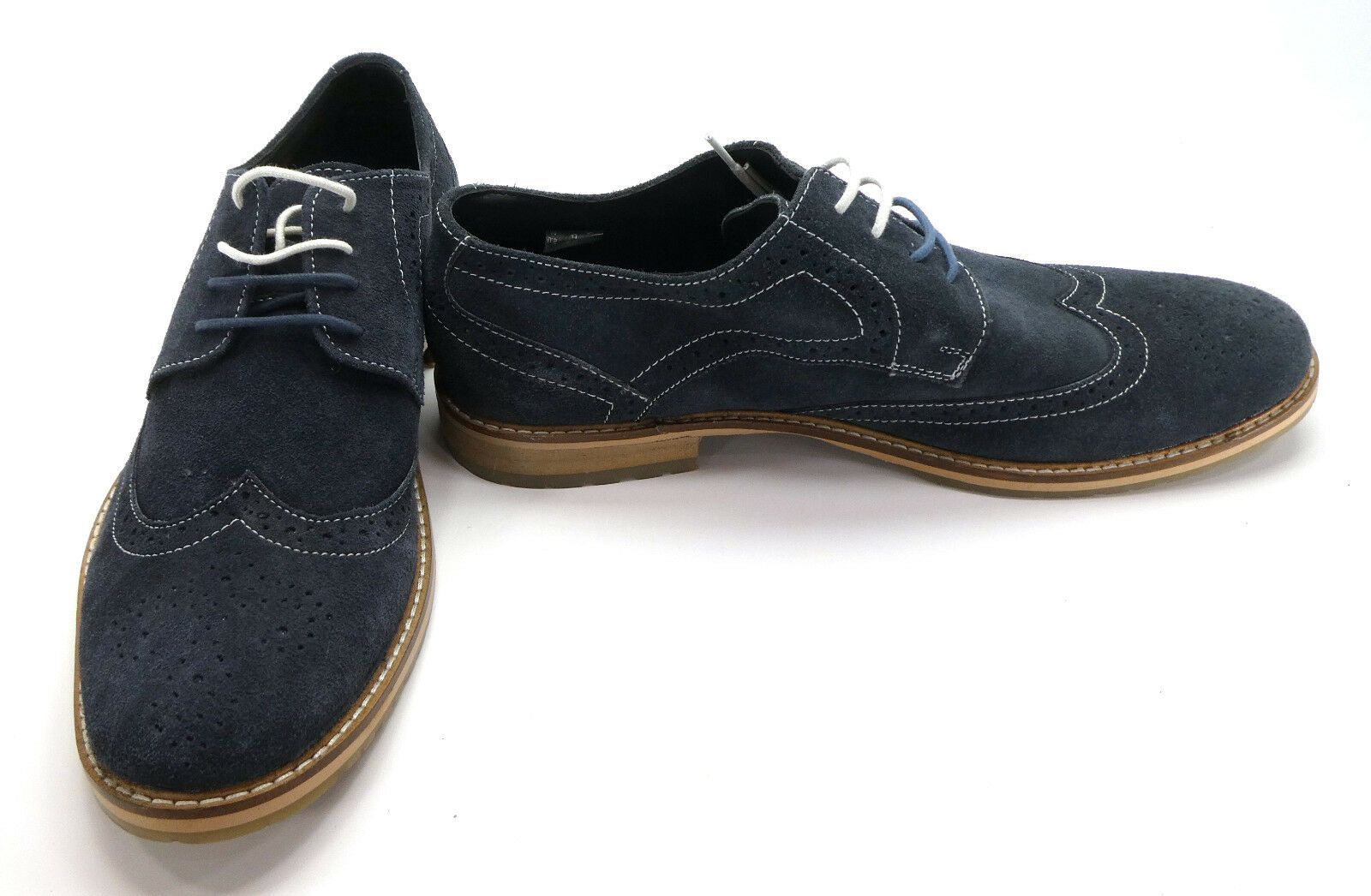 Ben Sherman Dress shoes Bennet Wingtip Suede Oxford Navy bluee Size 8