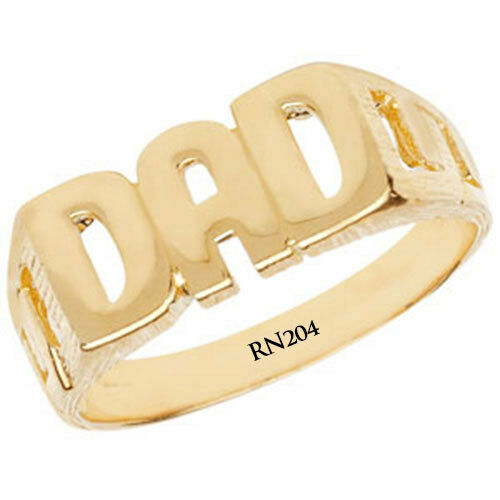 """9ct Oro Amarillo /""""DAD/"""" Anillo y Signet anillos en los tamaños dedo P a T"""