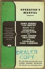 Original John Deere Van Brunt C 4 Integral Cultivator Jd Tractor Dealer Manual
