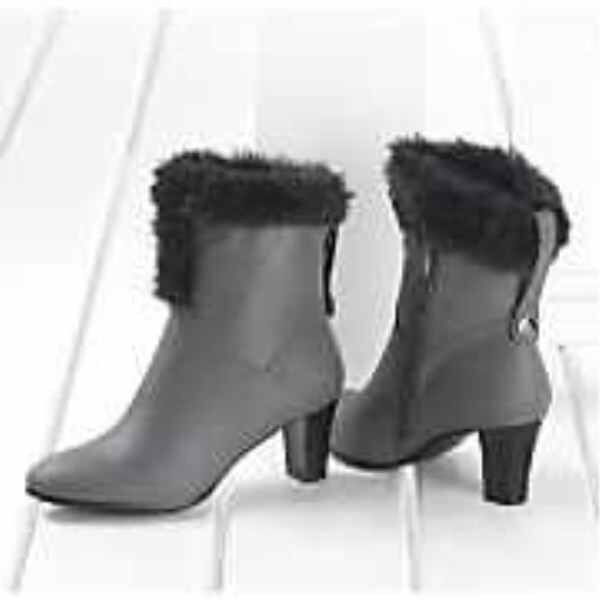 BRAND NEW WOMENS SIZE 7 W 7W FAUX FUR TRIM BOOTIE BOOT GRAY by SEVENTH AVENUE