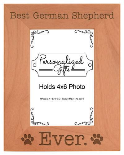 Dog Lover Gifts Best German Shepherd Ever Engraved Natural Wood Frame