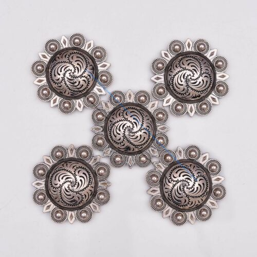 10X Silver Quality Flower Berry Leathercraft Western Horse Saddle Tack Concho
