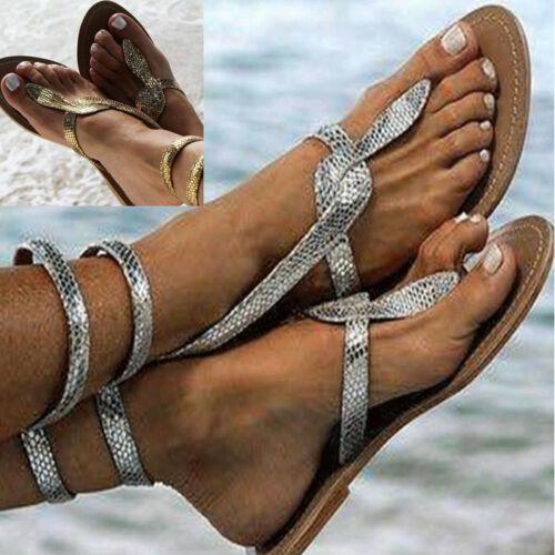Womens Flat Sandals Toe Post Flip Flops T Strap Ankle Summer Beach Holiday Shoes