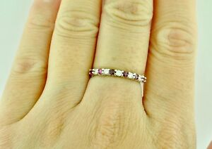 14k-Solid-White-Gold-Natural-Diamond-amp-Ruby-Ring-band-Anniversary
