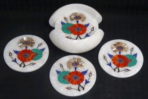 Marble Tea coaster set Floral inlay design Handicraft home /& Gift decor