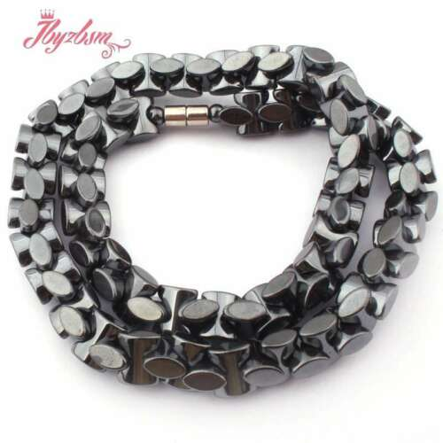 """8x9mm Black Funnel Hematite Natural Stone Beads Fashion Jewelry Necklace 15.5"""""""