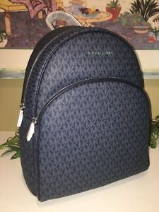Details about MICHAEL KORS ABBEY LARGE BACKPACK MK SIGNATURE NAVY BLUE BAG $448