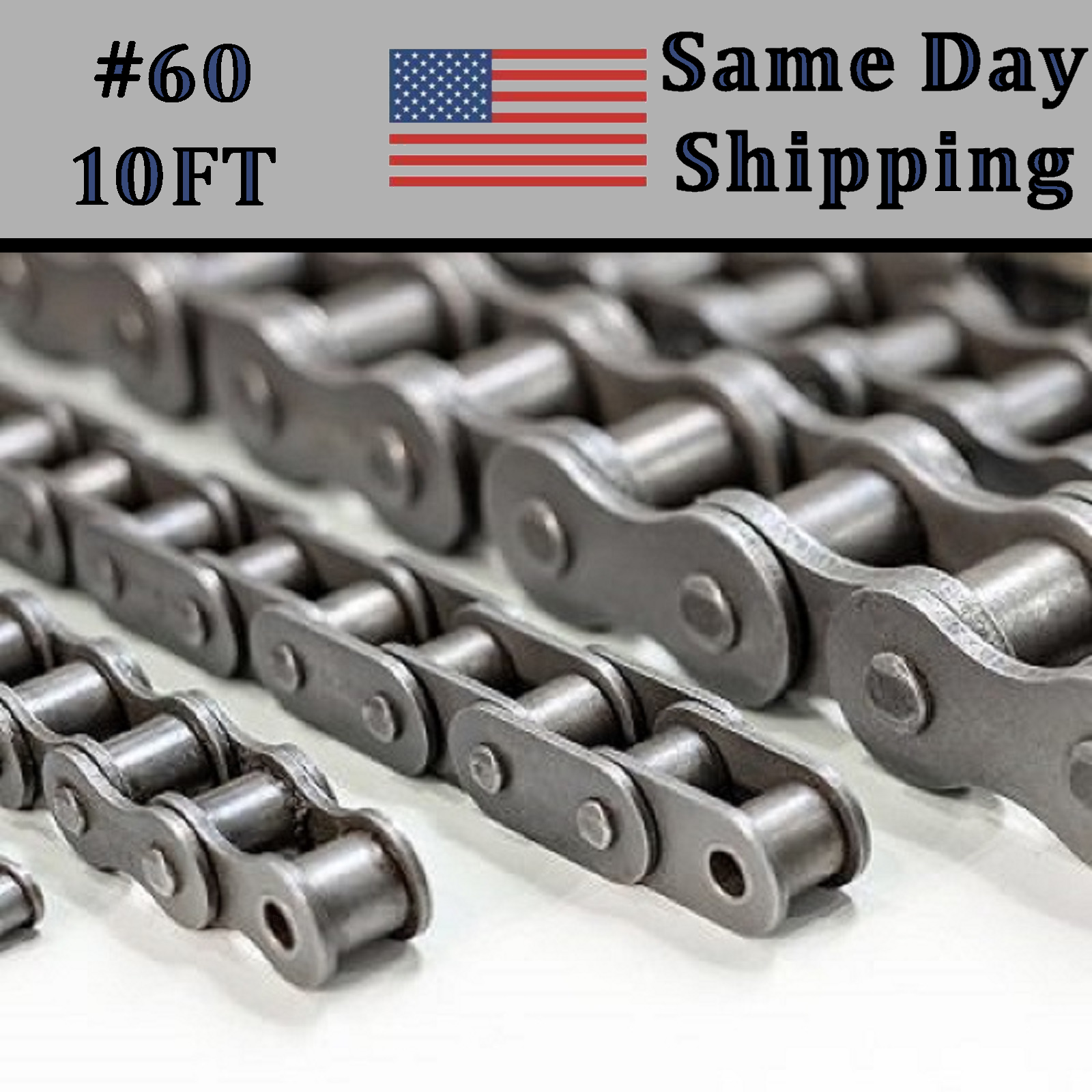 60 Roller Chain 10 Feet with 2 Connecting Links #60 60-1R 60R 3//4 PITCH