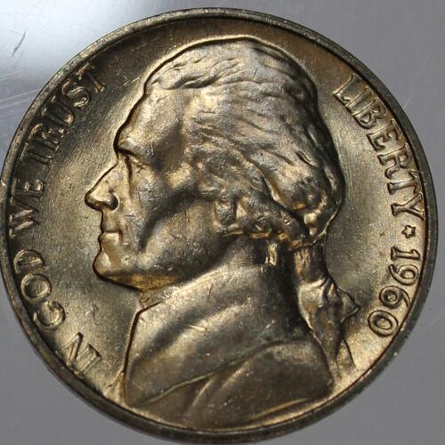 P Jefferson Nickel 1 pc 1960 Choice//Gem BU Coin