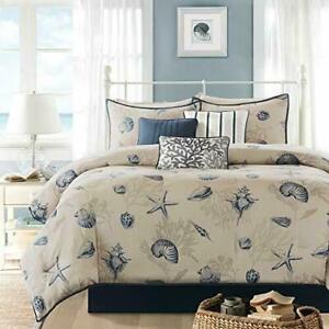 Madison Park 7-Piece Bayside Comforter Set - Taupe/Blue - Size: King - GallyHo