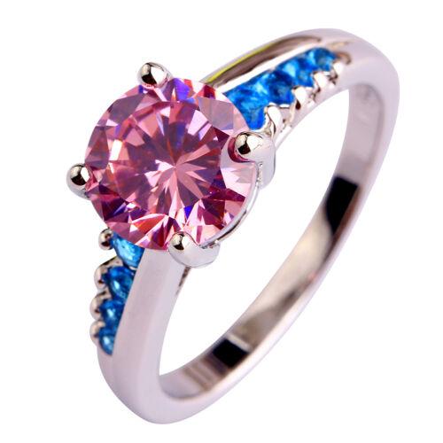 Regenbogen Topaz /& rosa Turmalin Rund Edelstein Ring Größe 6-10 Schmuck
