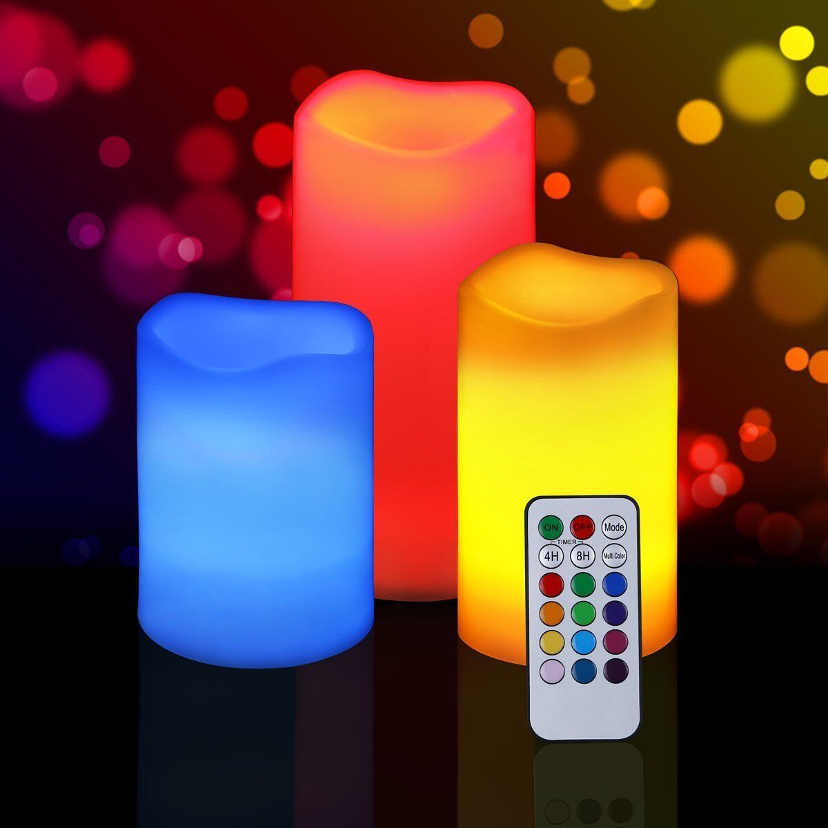 SET OF 3 REMOTE CONTROL COLOUR CHANGING FLAMELESS MOOD CANDLE W TIMER B O