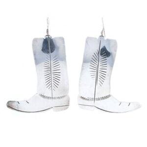 Ben J. Chavez Navajo Dangle Earrings Sterling - 925 Cowboy Boots Native American