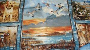First-Light-wildlife-autumn-birds-geese-flying-ducks-panel-South-Sea-fabric