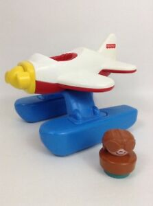 Little-People-Toy-Airplane-2510-with-Chunky-Figure-Vintage-1995-Fisher-Price
