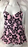 Mainstream Bathing Swimsuit 10 Pink Black Floral Trim Shape Dress Pad Bra$78