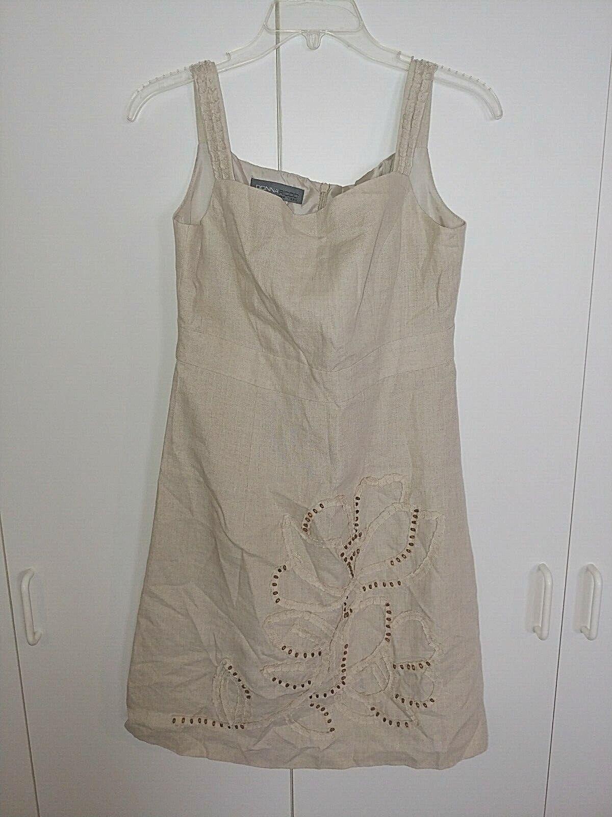 DONNA RICCO NEW YORK LADIES LINEN SLEEVELESS DRESS-6-TAN W/BEADED FRONT DESIGN