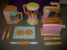 KIDKRAFT PASTEL WOODEN KITCHEN ACCESORIES TOASTER SMOOTHIE BAKING & COFFEE SETS