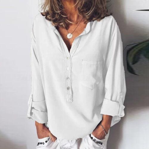 ZANZEA Women Stand Collar Buttons Down Shirt Tops Chic Ladies Blouse Plus Size