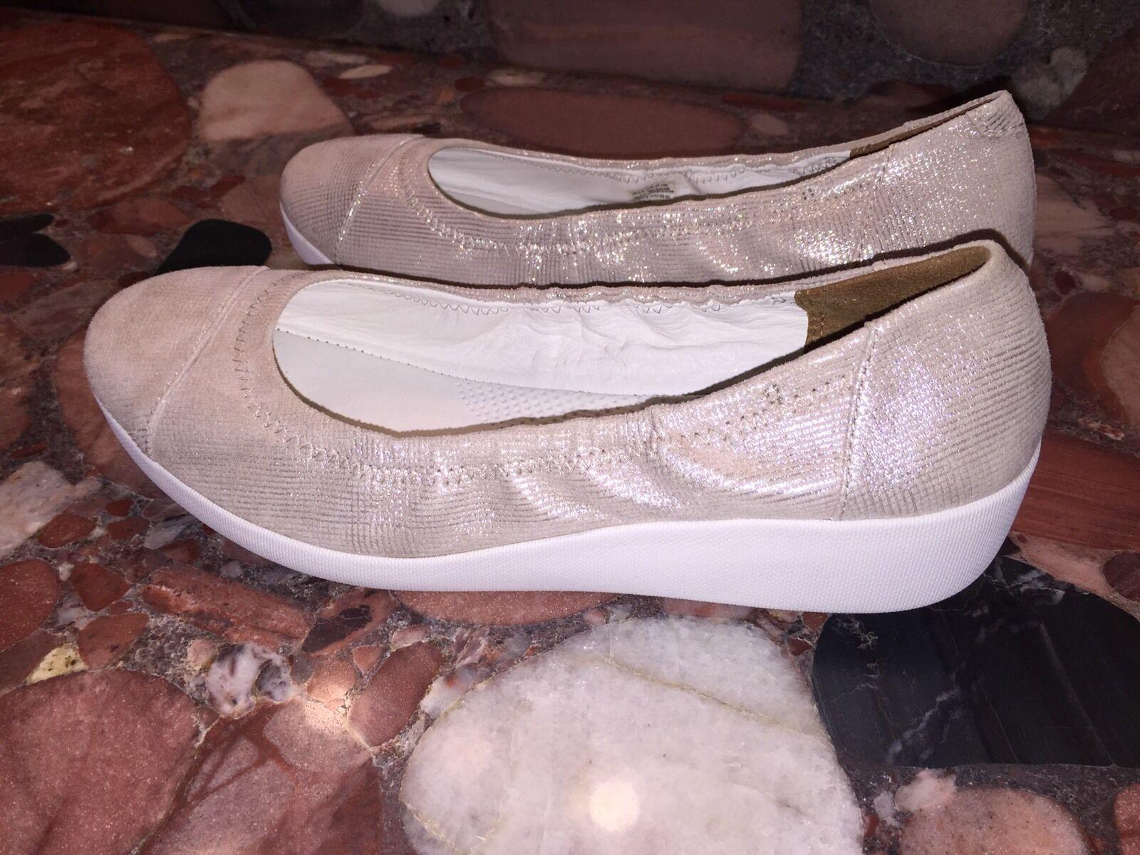 NEU 130 FitFlop Opul Shimmer F-Pop Ballerina Flats Stone Leder Schuhes Damens 10