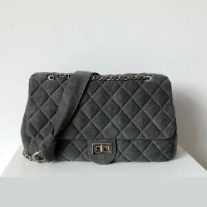 Quilted Denim Flap Shoulder Bag Purse Chain Straps Hobo Crossbody Shopper Travel