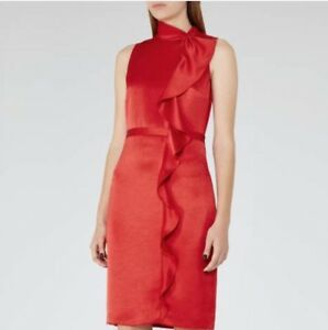 Taille Lola Dress Reiss Draped 5052901948726 280 £ Rrp Red 12 aOI1qZT