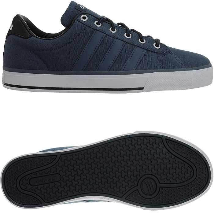 super popular 9ffe9 ddadb Adidas Daily Bleu Hommes Canvas Low-top Baskets Chaussures Chaussures  Baskets De Loisirs Cloudfoam NEUF