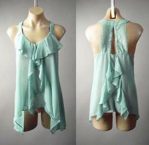 Coral Sheer Trapeze Tiered Handkerchief Hem Swing Cami Top 129 mv Blouse S M L