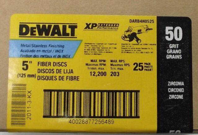 "Lot Of 50 DeWalt DARB1F0325 4"" Fiber Disc Metal Finishing 36 Grit,"