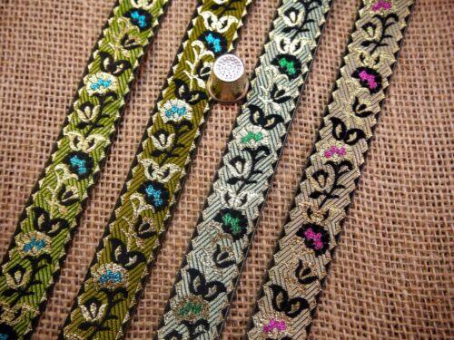 Indian Asian Twining Petunia Flower Pattern Jacquard Trim Ribbon Sari M9