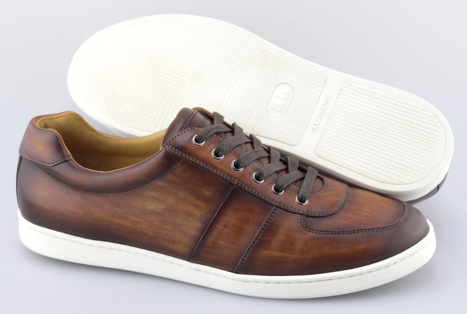 Men's MAGNANNI 'Franco' Cognac Brown Leather Sneakers Size US 10.5 - D