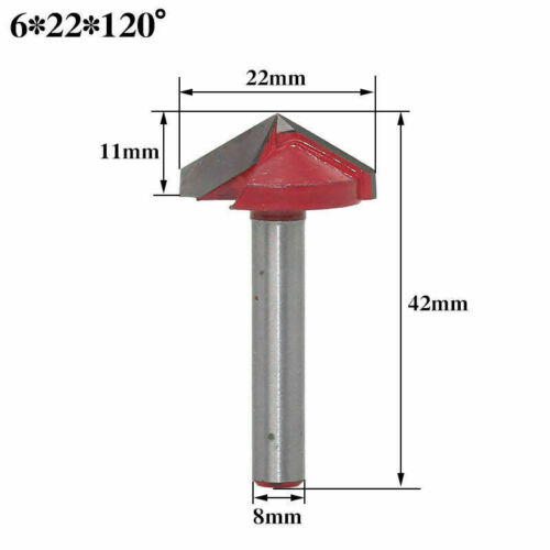 60° 90° 120° 150° V-Groove Router Bit CNC Woodworking Cutter Tool 16//22//32mm New