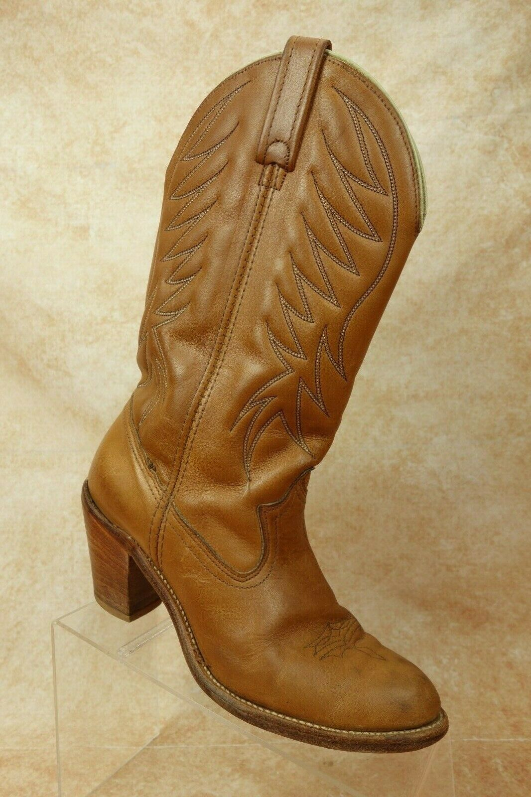 VTG Dingo Circle A Pull On High Heel Western Cowboy Boots Womens 8.5 m US