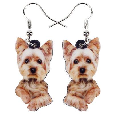 Acrylique Yorkshire Terrier Chien Boucles d/'oreilles Goutte Fashion Pet Bijoux pour femmes Charms
